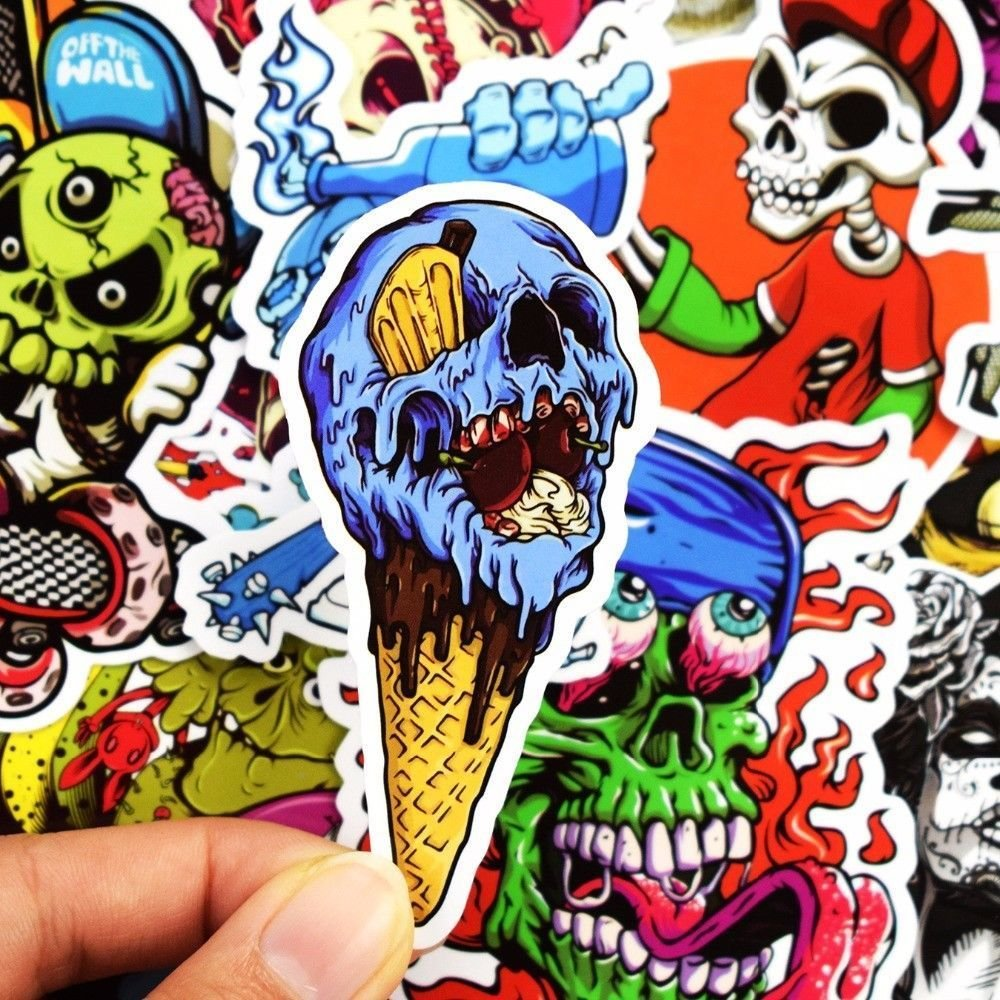 Horror Skull Vinyl Car Stickers Motorcycle Bicycle Luggage Decal Graffiti Patches Skateboard Stickers Yoogeer Car Luggage Stickers, 50 pcs Not Repeat eForsky