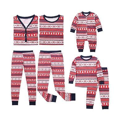 7ec349f340 POLP Niño Pijamas de Navidad Familia Snowflake Tops Blusa Pantalones Pijamas  Familiares Juego de Navidad a Juego Padre Hijo Madre e Hijo Traje de Ropa  de ...
