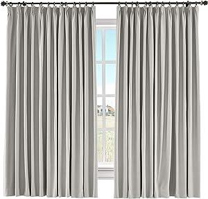 "ChadMade Room Darkening Drape Light Block Curtain Cotton Linen Window Panel Solid Pinch Pleated Drapery Kids Bedroom French Door, 50"" W x 96"" L (Stone Taupe, 1 Panel)"
