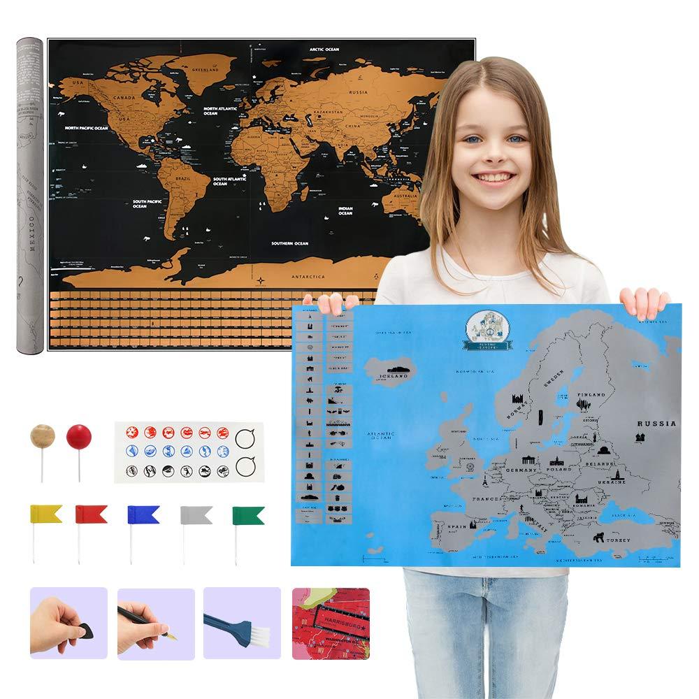 carrep Weltkarte zum Rubbeln schwarz Hochglanz Rubbelkarte von Europa mit Zubehör und Geschenkverpackung (2 Stücke, Weltkarte-82 * 59cm, europäische karte-55 * 43cm)