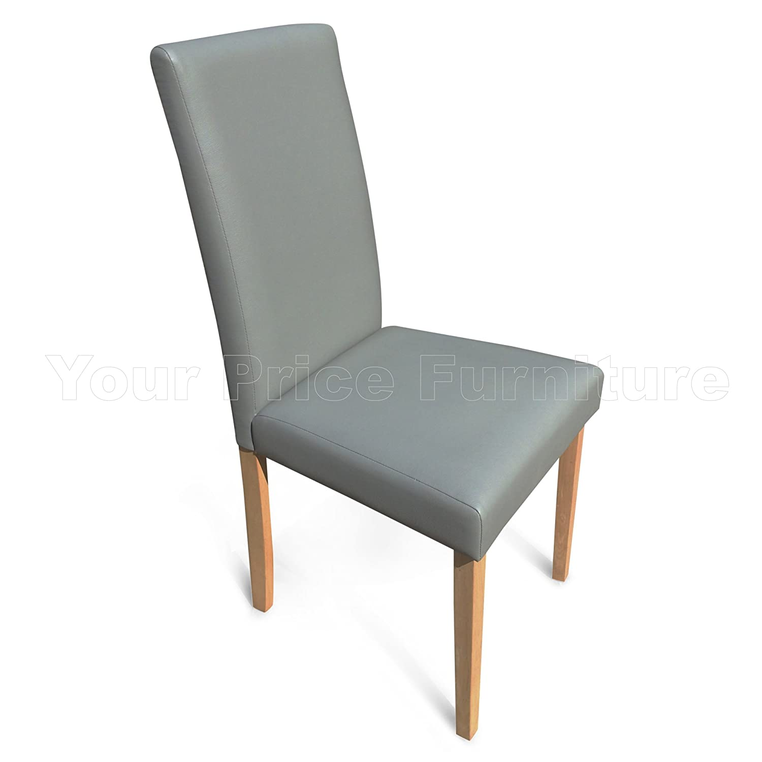 Set of 4 Matt Grey Faux Leather Torino Dining Chairs Grey With