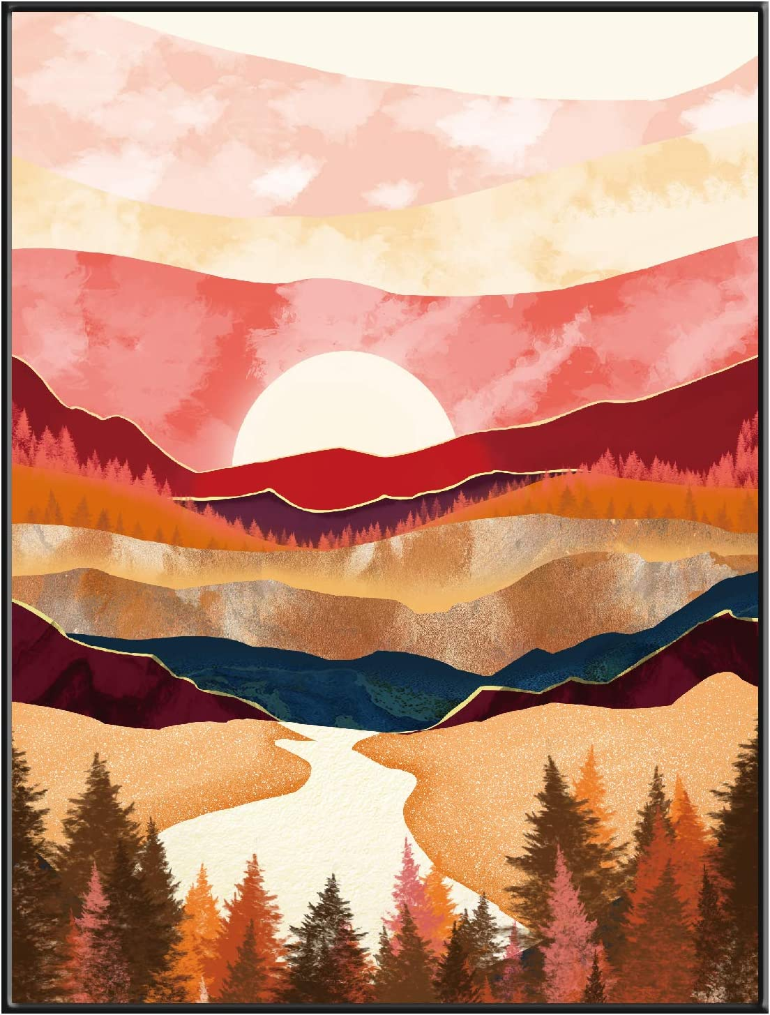 Yumknow Abstract Nature Wall Art - Boho Wall Art for Bedroom Wall Decor for Living Room Pictures for Wall Prints, Unframed 16x20 inch, Mountain Decor, Sunset Wall Art, Moon Poster,Modern Fall Wall Art