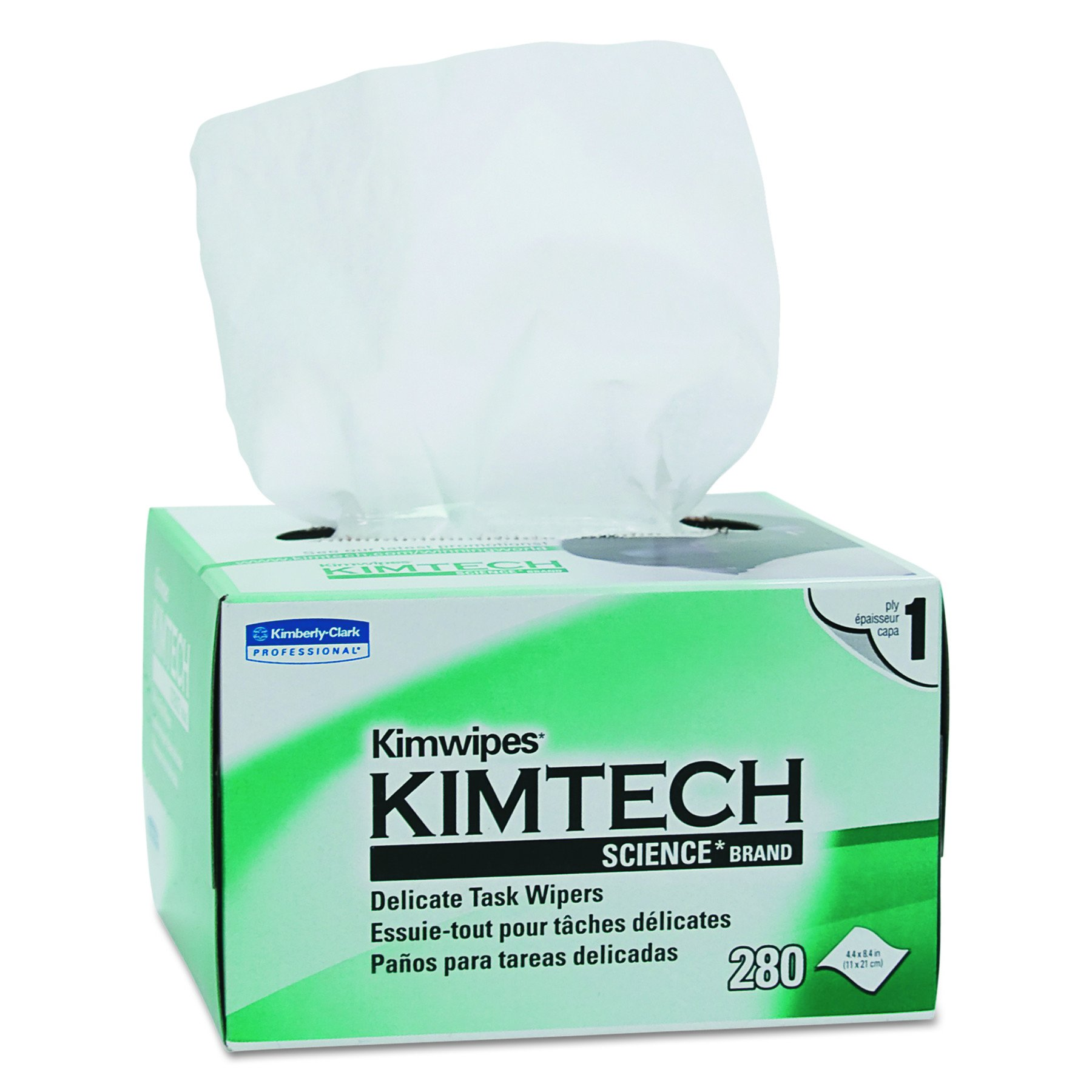 Kimtech 34155CT Kimwipes, Delicate Task Wipers, 1-Ply, 4 2/5 x 8 2/5, 280 per Box (Case of 60 Boxes)