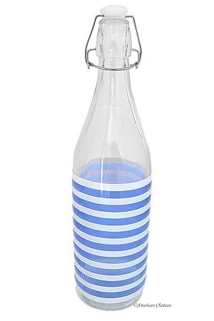Azul y blanco diseño de rayas Retro grande 33oz frigorífico botella de agua de vidrio con