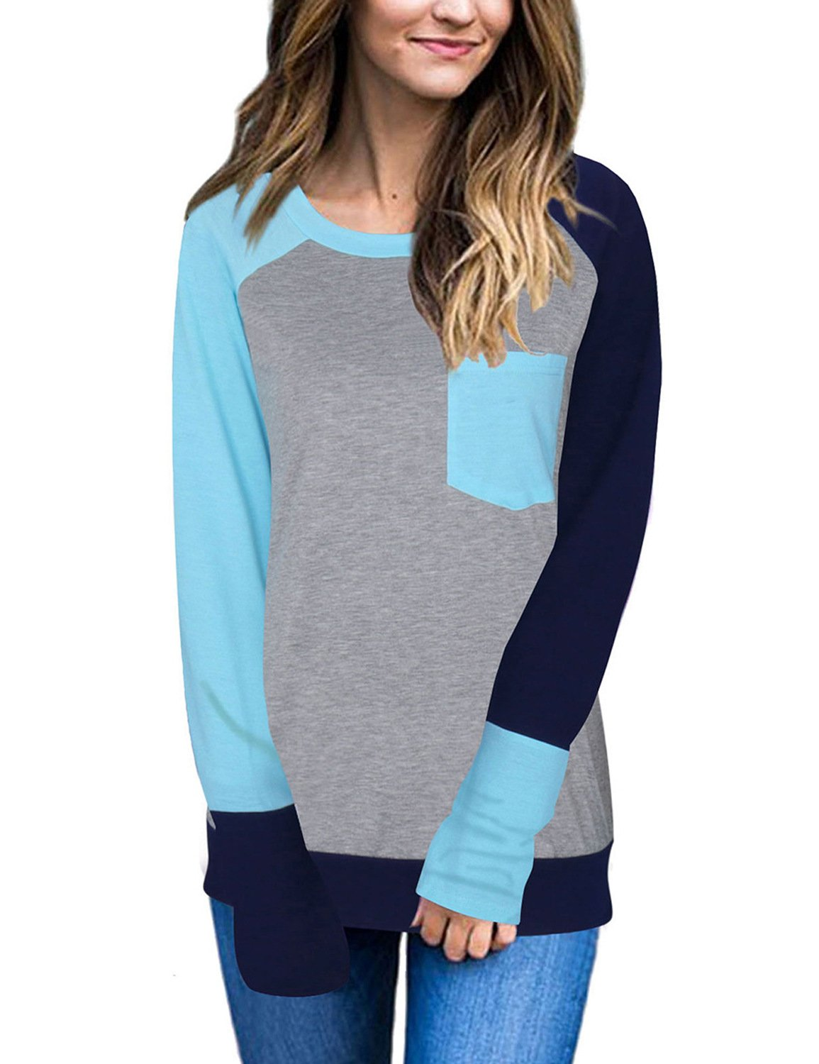 Naier Women T Shirt Top Long Sleeve Color Splicing For Leggings Jeans (L, Light Blue) by Naier (Image #1)