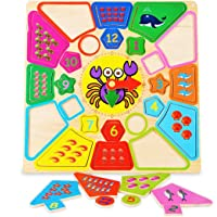 MousePotato Teaching Clock Numbers with Shapes & Counting with Sea Creatures Puzzle Board