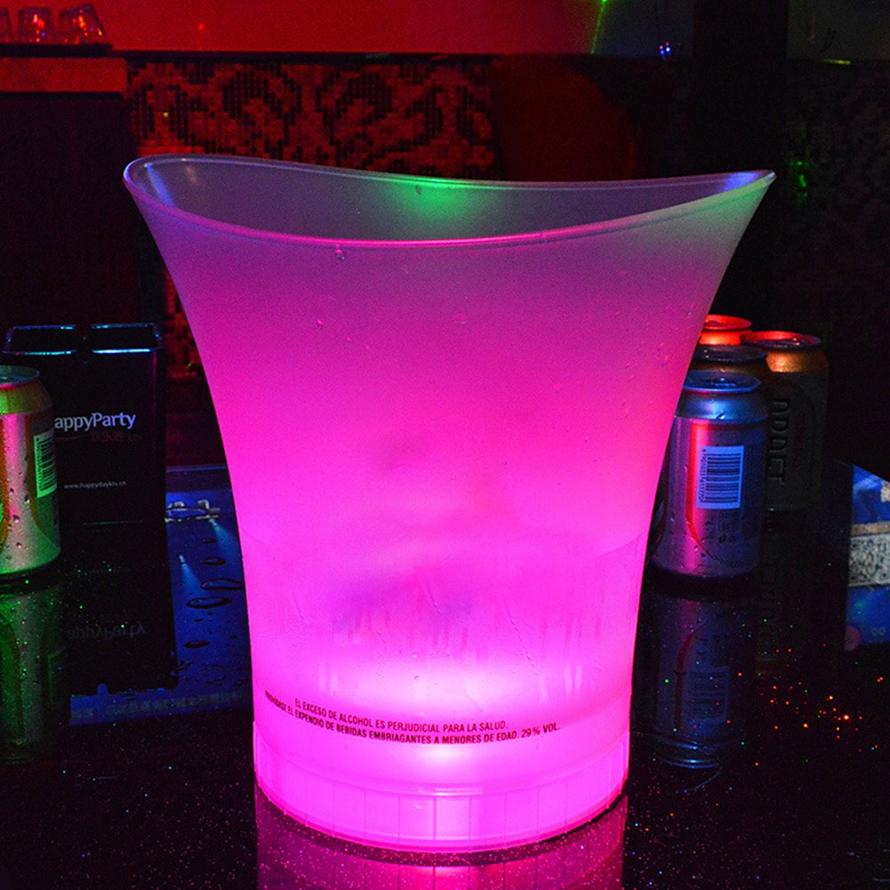LED Ice Bucket 7 Colours Gradient Changing Luminous Plastic Champagne Wine Drinks Cooler Bucket, 5L Beer Wine Ice Bucket for KTV Clubs Bar Home Wedding Party(5L)