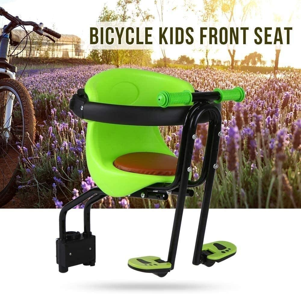 Color : A Green WKA Child Bike Seat Baby Kids Safety Seat Saddle Cushion Front Seat Chair Carrier with Back Rest Foot Pedals and Handrail 528