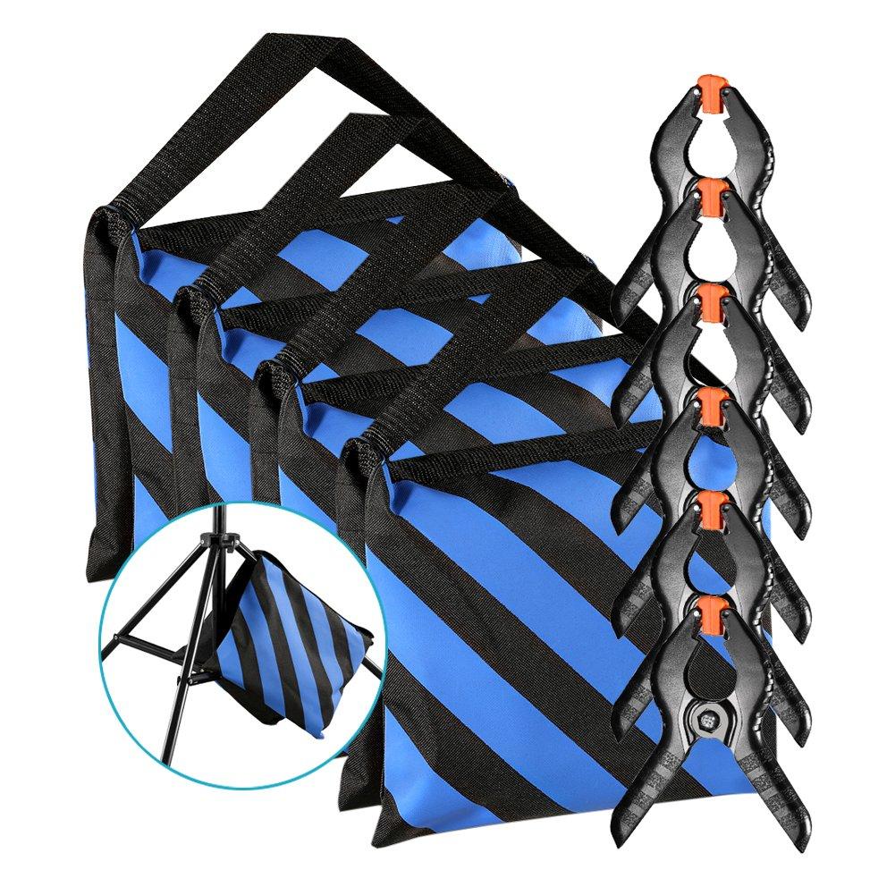 Neewer Lot de 4 Sacs de Sable Résistants (Bleu / Noir) pour Supports Bras de Stands de Studio Photo avec 6 Pinces de Serrage à Ressorts pour Toile de Fond en Mousseline (Sac de Sable Vide) 90092018