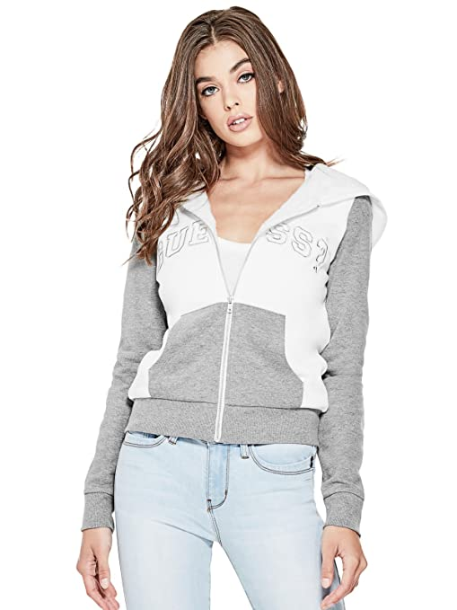 395bbb2994c1 Guess Factory Women's Hailee Color-Block Logo Hoodie: Amazon.ca ...