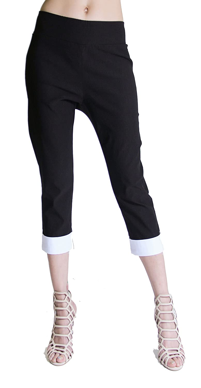 "FOCUS 2000 Women's Techno Thin ""Comfort Within"" Pull On 2-Tone Trim Capris Pants"
