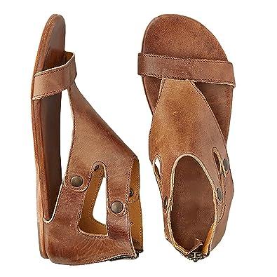 76a70b231 Freashine Women s Summer Sandals Open Toe Casual Flat Beach Slipper Yellow  Size  10 B (