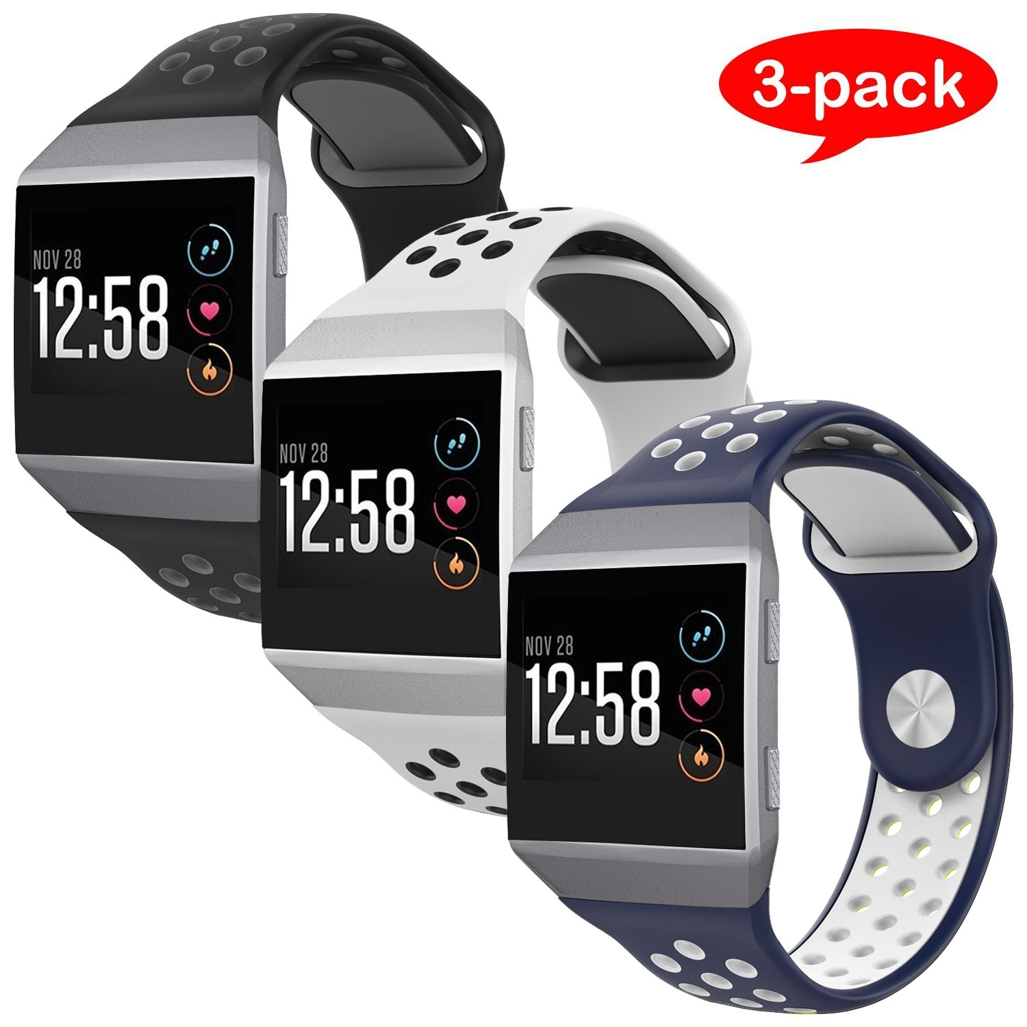 For Fitbit Ionic Bands, VODKE Soft Silicone Replacement Sports watch Bands/Strap/Bracelet/Wristband Accessory For Fitbit Ionic Men Women Small Pack of 3pcs Type 2