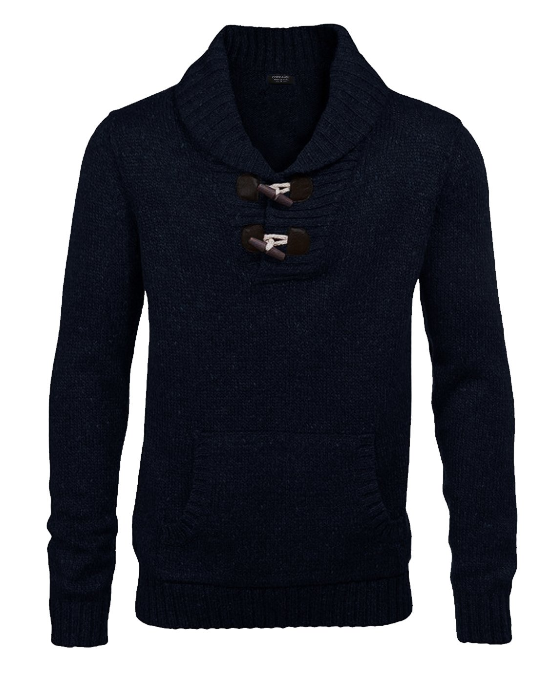 Coofandy Men's Knitted Slim Fit Shawl Collar Sweater Long Sleeve Pullover Black Medium