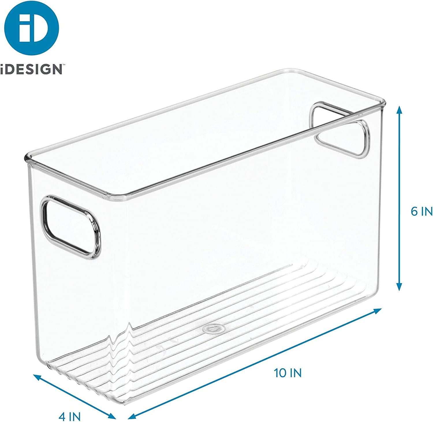 Large Clear InterDesign Linus Storage//Organiser Box with Handles Made of Plastic