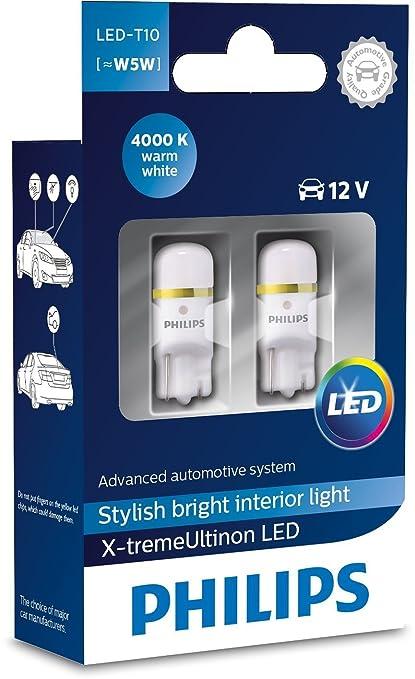 PHILIPS X-tremeUltinon Iluminación interior LED para vehículos LED T10 [~ W5W], 12V, luz blanca cálida 4000K, rendimiento CeraLight