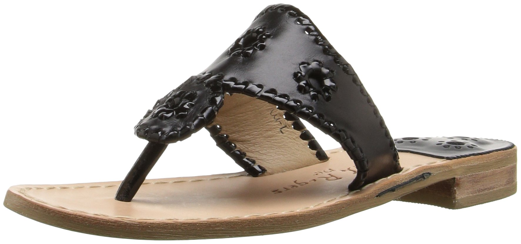 Jack Rogers Women's Palm Beach Navajo Classic Sandal,Black/Black Patent,12 M