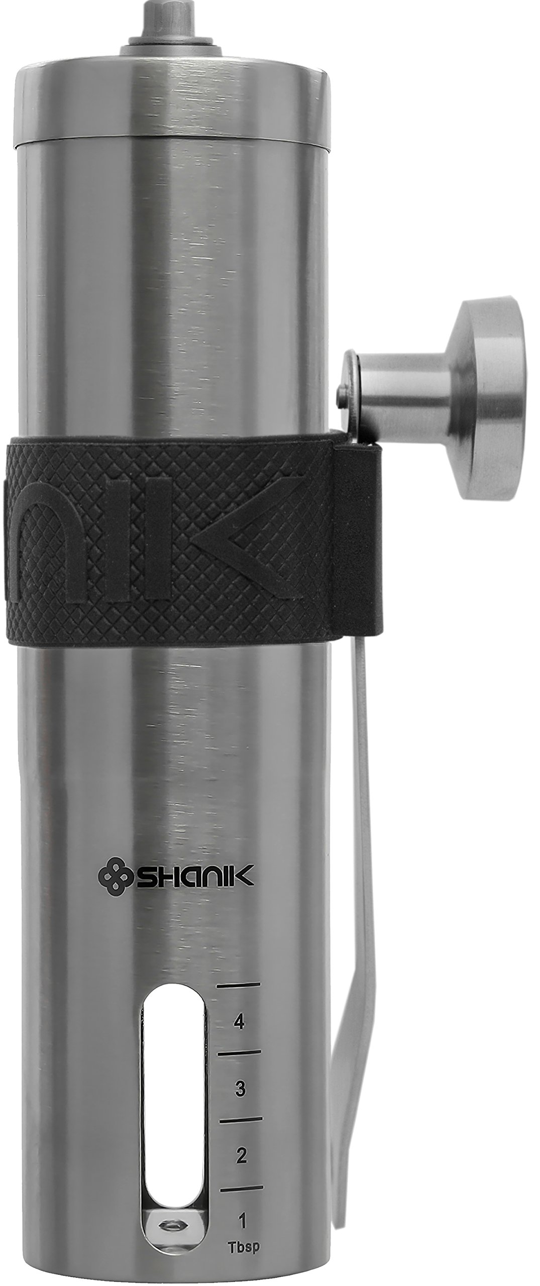Premium Quality Stainless Steel Manual Coffee Grinder - Portable Burr Coffee Grinder - Conical Ceramic Burr for Precision Brewing - Silicone Lid to Keep Coffee in Container - (Pack of 2) by Shanik