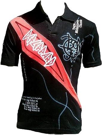 Men Hommes Polo – Camiseta de Negro Rojo geiles Club Wear Rock ...