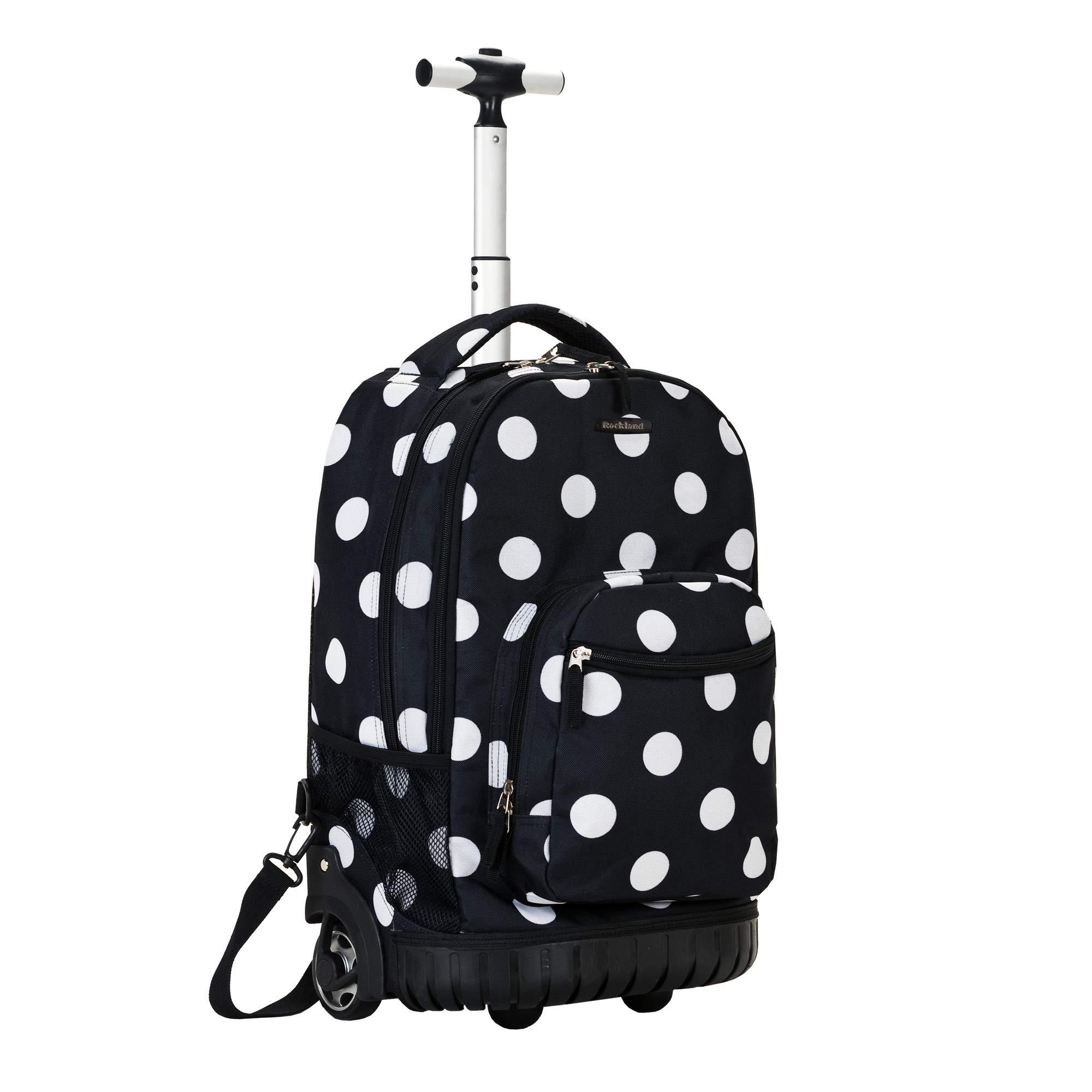 Rockland Luggage 19 Inch Rolling Backpack Printed, Black Dot, Medium