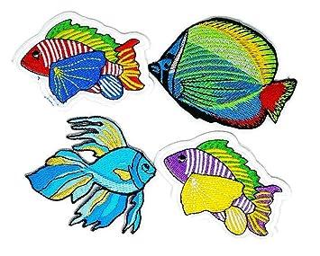 Juego de 4 peces animales de mar D.I.Y. Parche bordado para coser o planchar con dibujos. Pasa ...