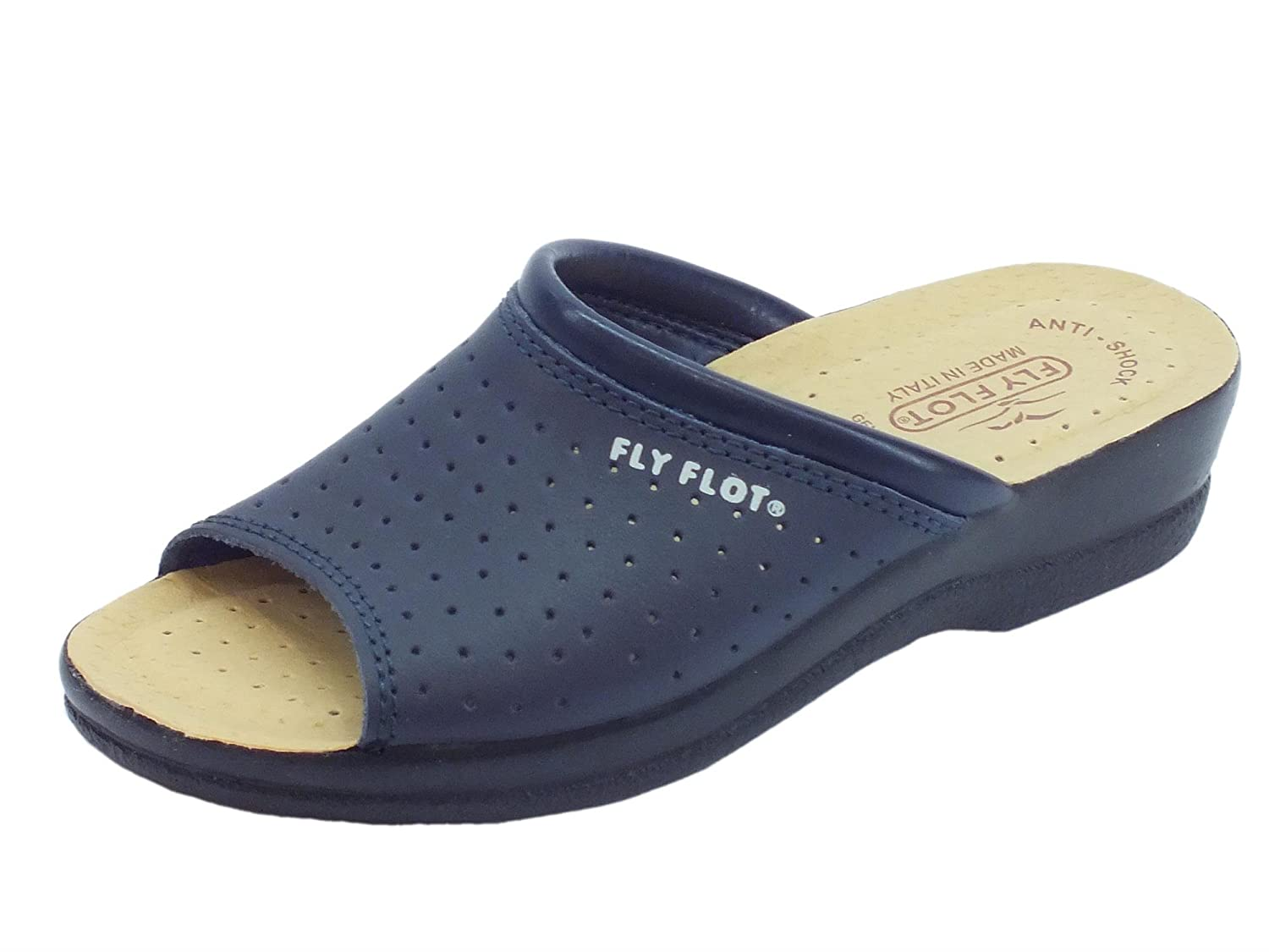 Fly Flot Pantofole Spuntate Sottopiede in Ecopelle Traforata Blu
