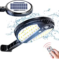 Luz Solar Exterior, LOZAYI Foco Solar con Sensor de Movimiento, Lamparas Solares con Mando a Distancia, 3 Modos de Iluminación, Luces Solares Exterior para Jardín, Patio, Garaje, Porche