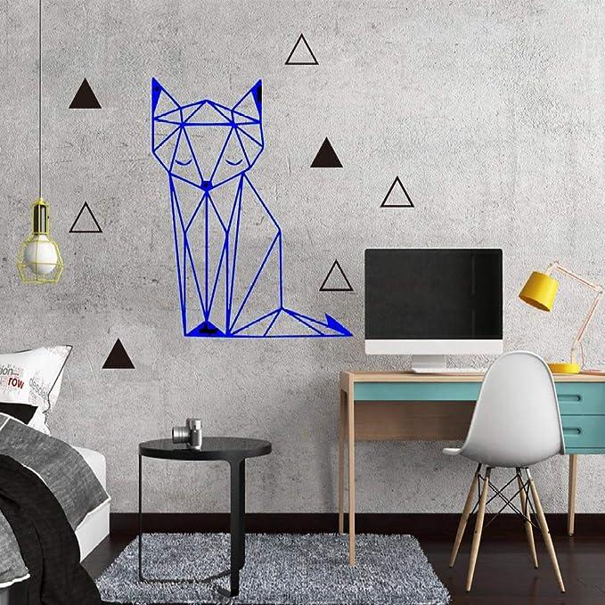 Hermoso zorro geométrico etiqueta de la pared removible etiqueta de papel tapiz para niños habitación del bebé decoración del dormitorio familiar apliques de pared de vinilo mural gris 30cm X 34cm: Amazon.es:
