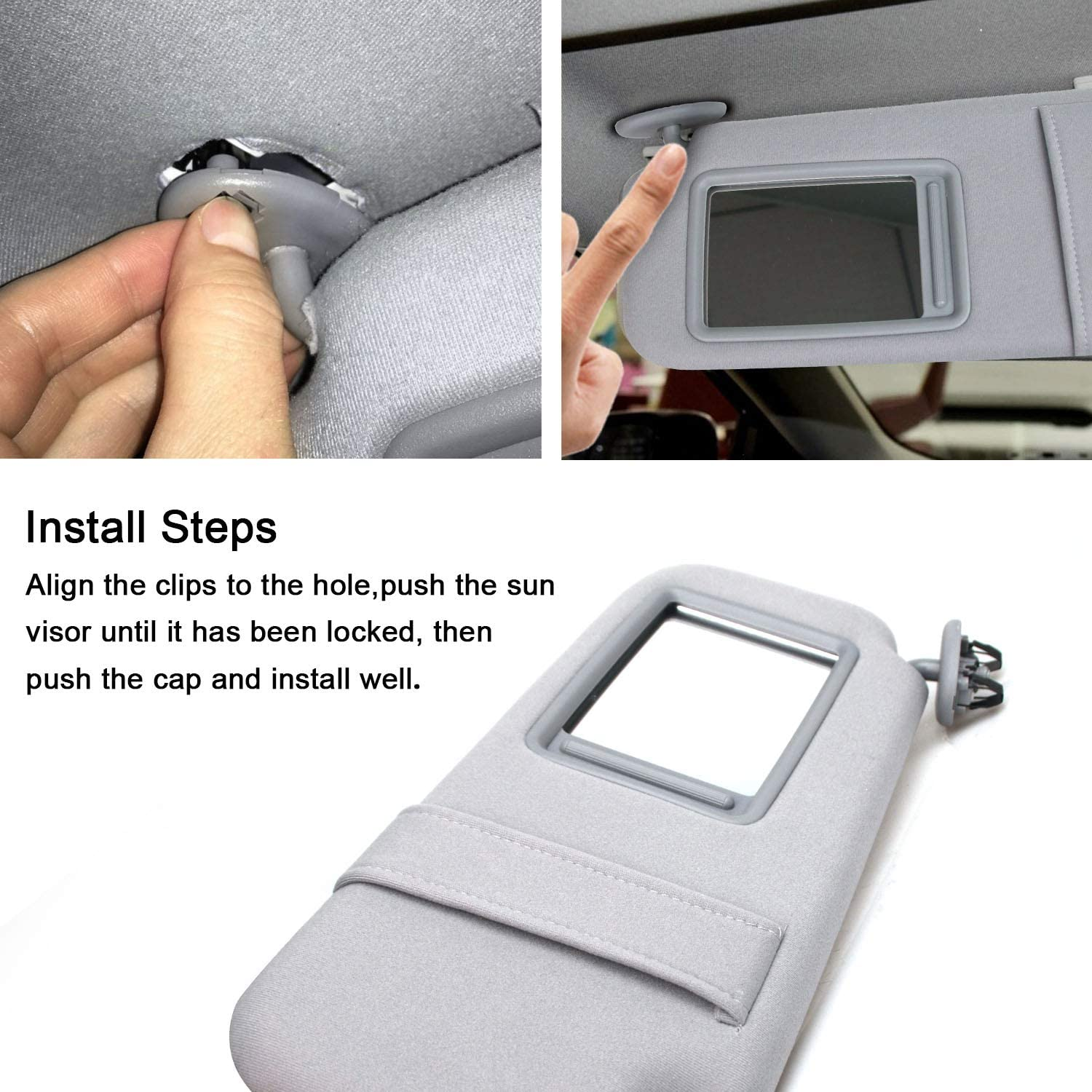 AMZBY Sun Visor Driver Side Compatible with 2007-2011 Toyota Camry /& Toyota Camry Hybrid Without Sunroof and Light Gray