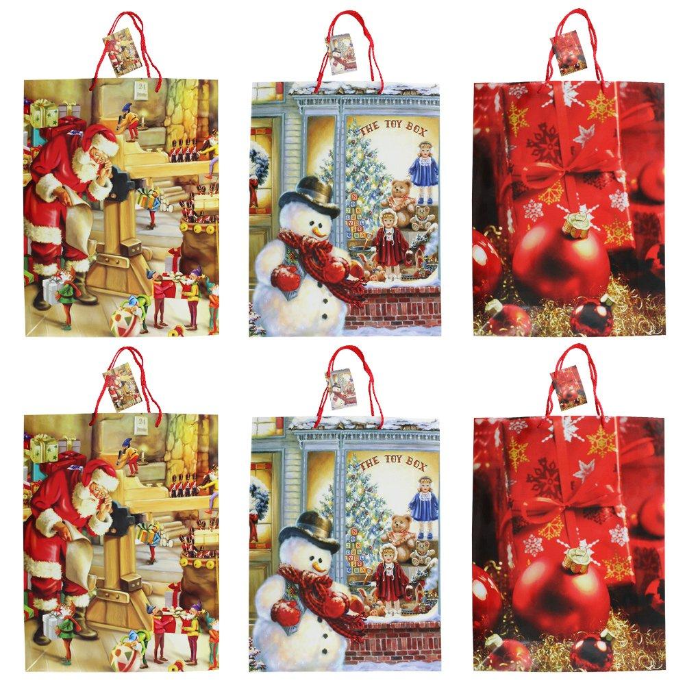 COM-FOUR® 6 sacchetti regalo per Natale con vari disegni, per confezionare regali, 26 x 26 x 12 cm (06 pezzi - Christmas Mix5)