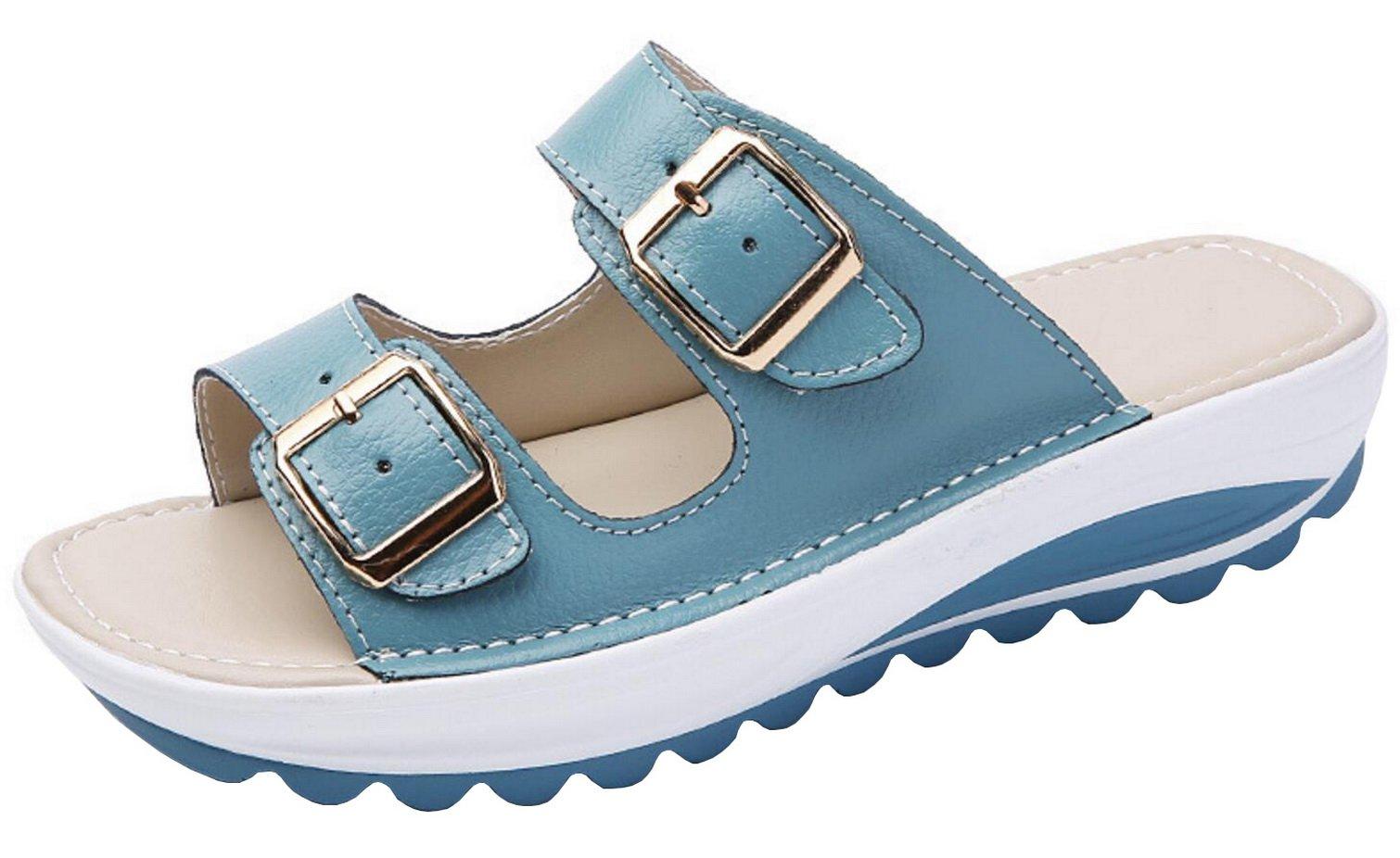 Vocni Women's Slide Leather Sandal Shoes Buckle T-Strap Platform Slide Sandals Blue EU 39-8B(M) US