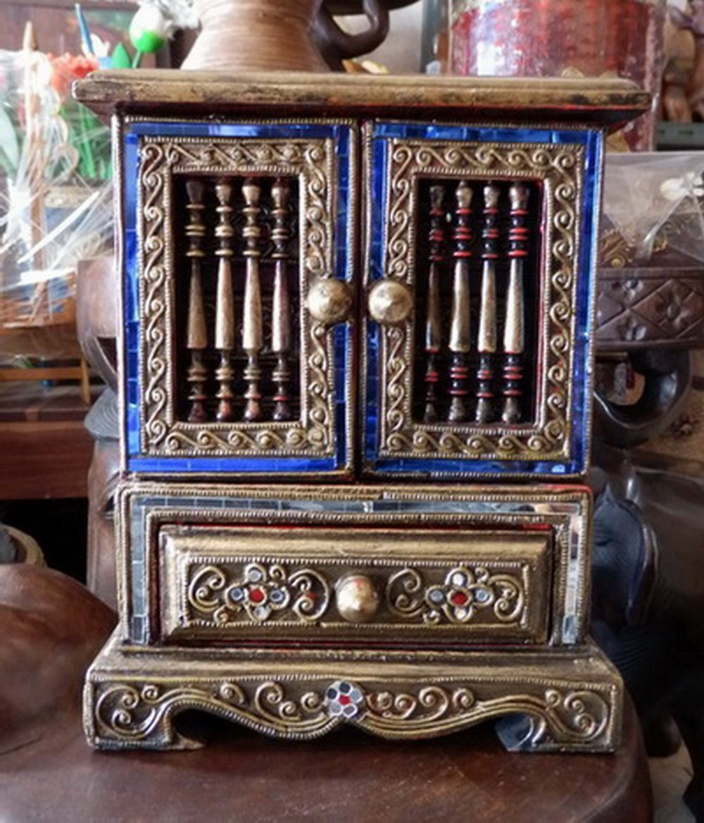 Colorful Cabinets with Drawers Teakwood Teak Wood Wooden Box Chest for Jewelry Rings & Necklaces by Thai Teak Wood