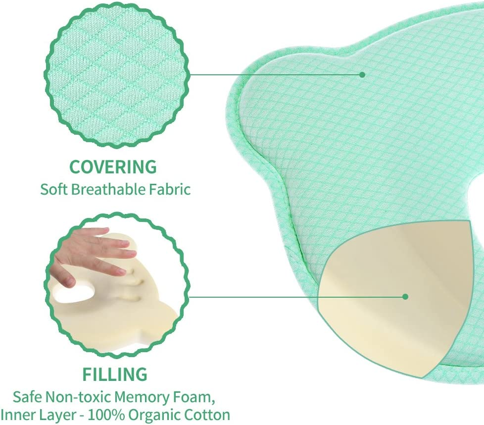 Breathable Memory Foam Pillow with Removable Pillowcase for Infant Baby Pillow for Newborn