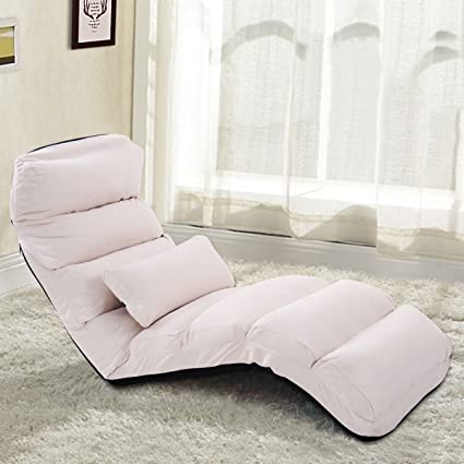Genial Giantex Folding Lazy Sofa Chair Stylish Sofa Couch Beds Lounge Chair  W/Pillow (Beige