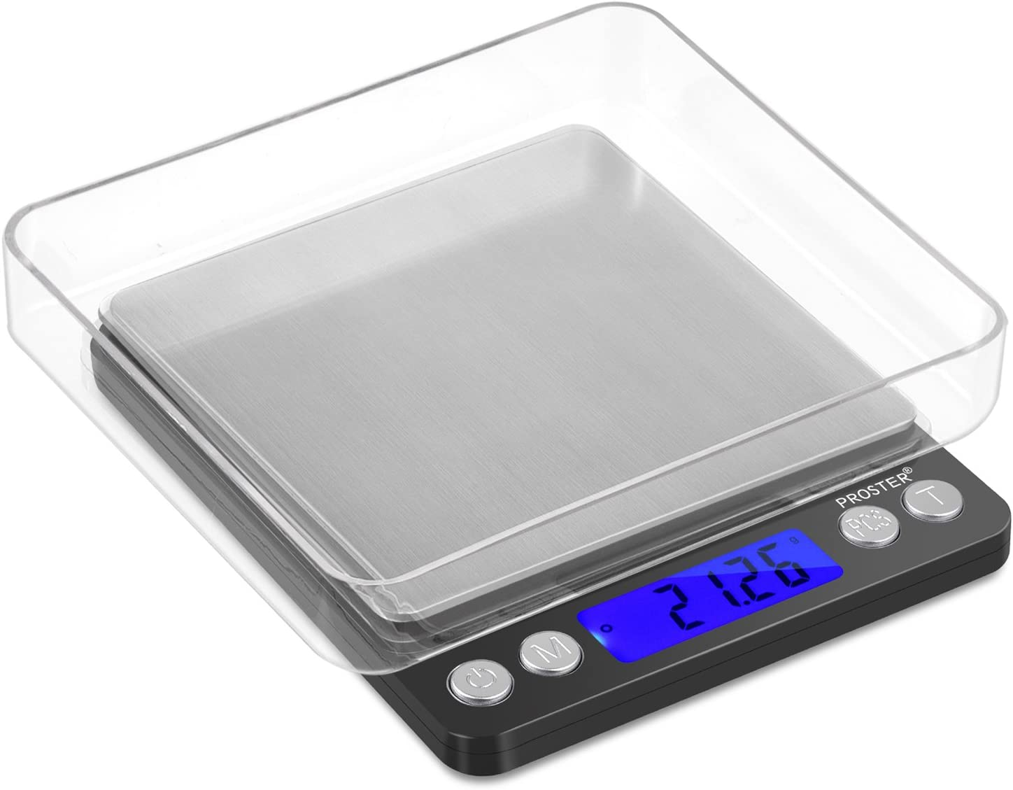 Proster Digital Kitchen Scale 500g/0.01g, Pocket Stainless Steel Food Scale with Backlit LCD, 6 Units Conversion, 2 Trays, Tare Function, for Baking Cooking Diet Jewelry Weighing