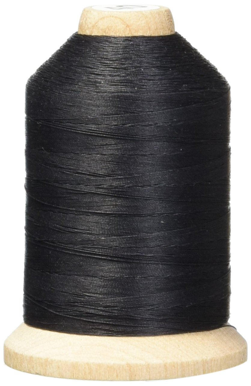 YLI 21100-BLK 3-Ply T-40 Cotton Hand Quilting Thread, 1000 yd, Black