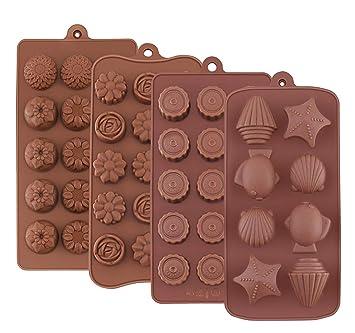 Moldes de silicona para dulces chocolate – Joyoldelf Set de 4 moldes para tarta de dulces