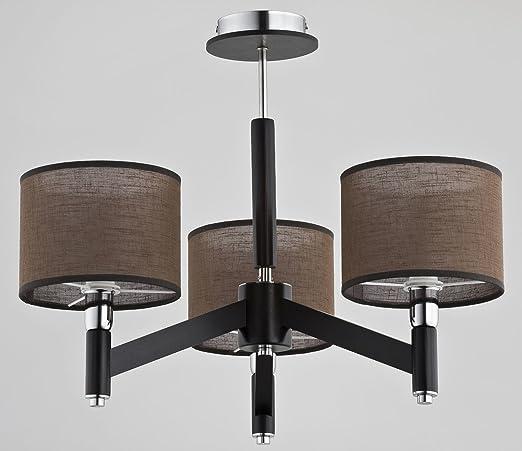 3 brazos - Lámpara de techo marrón Pantalla oscura madera ...