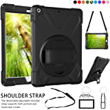 "ZenRich New iPad 9.7 2017 2018 Case,360 Degree Rotatable Handle Stand Hardstrap Layer Shockproof Dropproof Hybrid Heavy Duty Skin W/Kickstand shoulder harness for iPad 9.7"" Black"