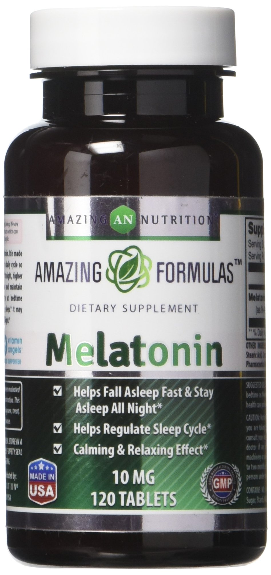 Amazing Nutrition Melatonin – 10 Mg Tablets - Best Choice of Natural Sleep Aid Supplement –