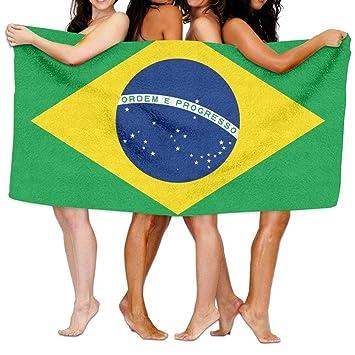 Hat New Toalla de Playa con la Bandera de Brasil de 203 x 130 cm,