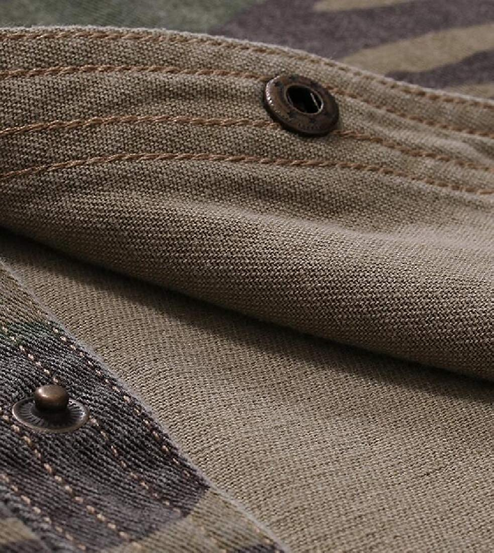 HANA+DORA Mens Printed Dress Shirt-Camouflage Print Short Sleeve Regular Fit Shirt