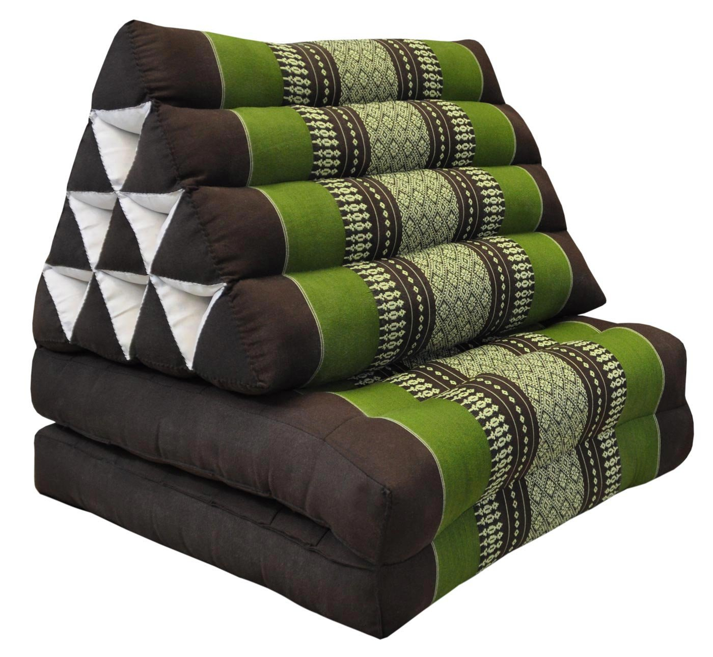 Tungyashop@thai Traditional Cushion Kapok Mattress (Green-Brown, 2 Fold) by NOINOI