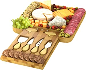 Cheese Board Set - Large Charcuterie Bamboo Serving Tray Platter with 4 Knives & Cheese Markers – Perfect Gift Idea