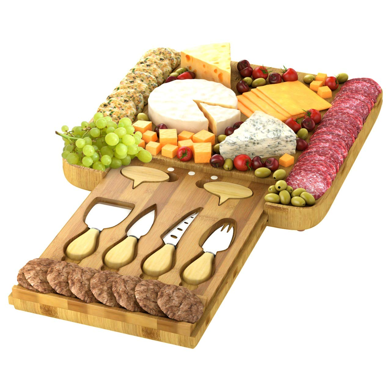 Cheese Board Set - Large Charcuterie Bamboo Serving Tray Platter with 4 Knives & Cheese Markers - Perfect Gift Idea by Bioexcel Cheese Board