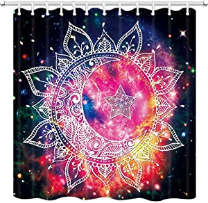 SPXUBZ Psychedelic Shower Curtain for Bathroom, Mandala Shape Crescent Moon Star Shape Starry Sky Shower Curtain Waterproof Bathroom Decor Polyester Fabric Curtain Sets with Hooks