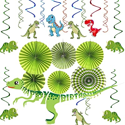 Cieovo 37 Pack Dinosaur Birthday Party Decorations Supplies Happy Birthday Banner Dinosaur Party Garland Hanging Swirl Hanging Paper Fans Set Great for Baby Showers Wedding Green Party Decorations Supplies: Toys & Games