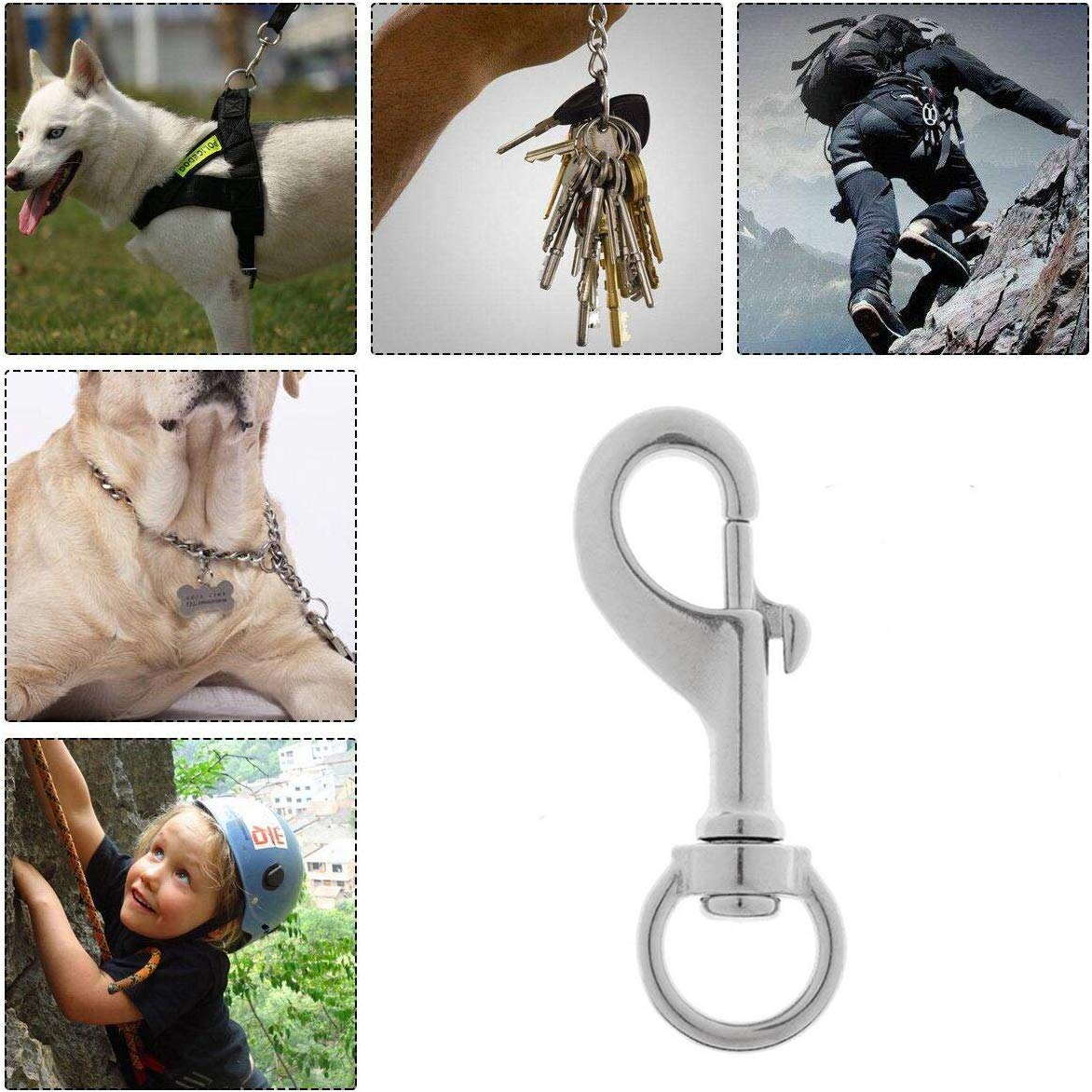 Flag Poles Pet Leashes 316 Stainless Steel Swivel Eye Lobster Clasp for Key-Chains Scuba Bag Straps Horse Leads Gate Latches Yundxi Heavy Duty Bolt Snap Clip Hook