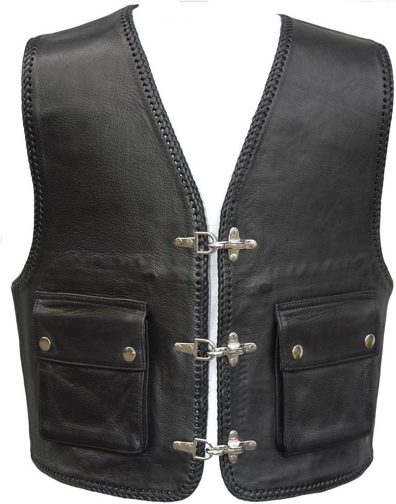 """52 Bad Company Leatherwear /""""Kai/"""" Clubweste aus Glattleder in Schwarz mit aufgesetzten Taschen f/ür Motorradfahrer und Biker Gr."""
