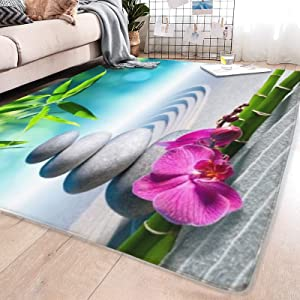 Area Rug Sand Orchid and Massage Stones in Zen Garden Sunny Day Meditation Yoga for Living Room Dining Room Bedroom playroom Parent-Child Game mat Study Office Room Decor mxq
